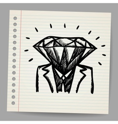 Doodle businessman-diamond sketch concept vector image