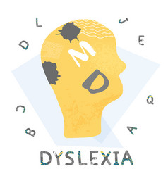 dyslexia concept sign with stylized letters vector image