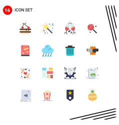 Editable line pack 16 simple flat colors of vector