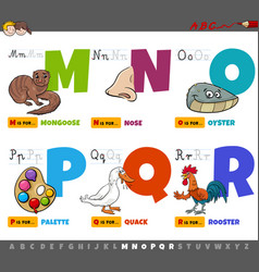 educational cartoon alphabet letters for kids vector image