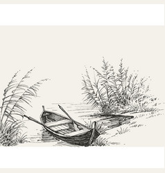 Empty boat on shore on lake relaxation in vector