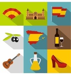 European Spain icons set flat style vector image