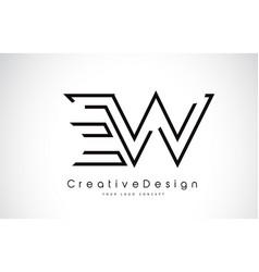 Ew e w letter logo design in black colors vector