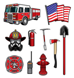 firefighting icons firefighter labels set vector image