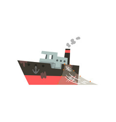 fishing boat industrial trawler for seafood vector image