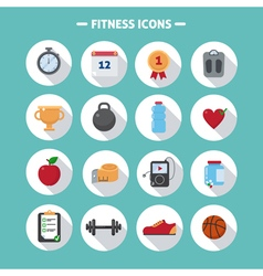 Fitness Icons Set in Flat Style vector