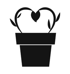 Flowers in a pot simple icon vector image vector image