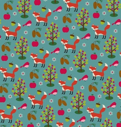 Fox and pinecone pattern vector