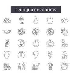 fruit juice products line icons signs set vector image