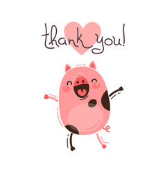 funny pig says thank you happy pink piglet vector image