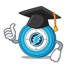 Graduation electroneum coin chracter cartoon vector