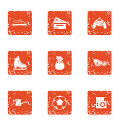 Grandma house icons set grunge style vector