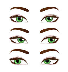 green female eyes set vector image
