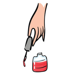 hand holding a nailpolish brush and red vector image