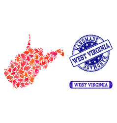 Handmade collage of map of west virginia state and vector