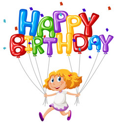 Happy birthday card with girl and balloons vector