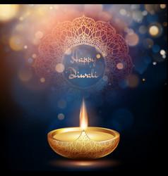 happy diwali burning diya holiday vector image