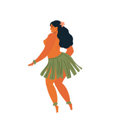 Hawaiian hula dancers young pretty woman vector