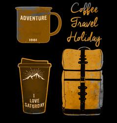 Holiday set coffee mug and bag tee graphic design vector