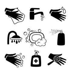 hygiene black icons antiseptic cream and hands vector image