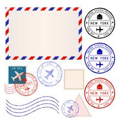 International mail envelope with collection of vector
