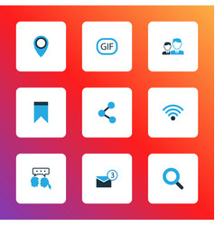 Internet icons colored set with gif sticker vector