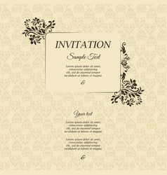 invitation card in an old-style brown color vector image
