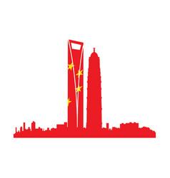 Isolated cityscape of shanghai vector