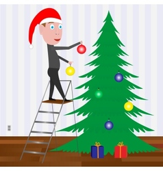 Kid decorating the Christmas tree with balls vector