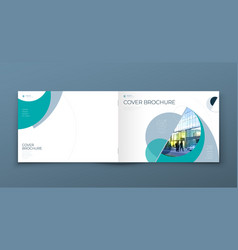 Landscape cover with minimal teal geometric design vector