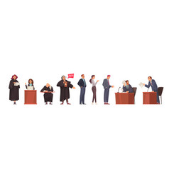 Lawyer doodle characters set vector
