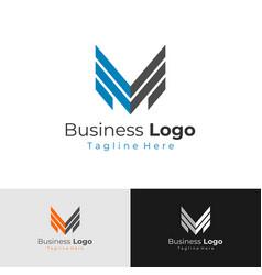 letter m logo letter v m logo arrow flat logo vector image