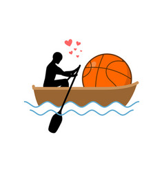 lover basketball guy and ball ride in boat lovers vector image