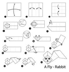 Make origami a fly rabbit vector