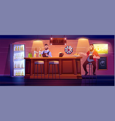 Man in beer bar sit on high stool at wooden desk vector