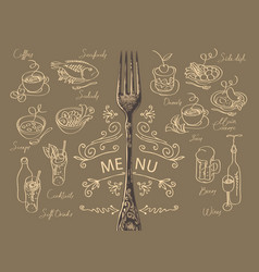 Menu with fork and sketches different dishes vector