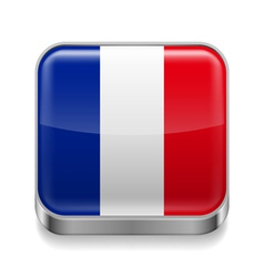 Metal icon of France vector image