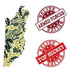 Military camouflage composition of map of belize vector