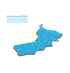 Modern of oman map connections network design vector