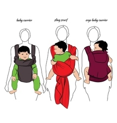 mothers with children in a sling vector image