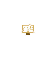 Open book education online computer logo vector