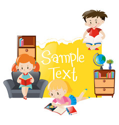 paper template with three kids reading books vector image