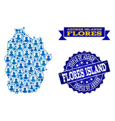 People collage of mosaic map of azores - flores vector