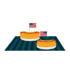 Picnic hot dogs with american flag on blanket vector