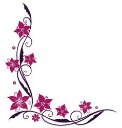 Pink and purple flowers vector