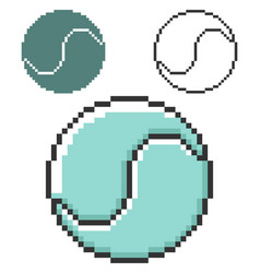 pixel icon tennis ball in three variants fully vector image