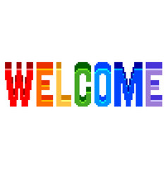 pixel welcome colorful text detailed isolated vector image