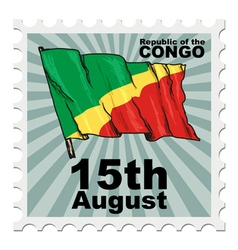 post stamp of national day of Congo vector image