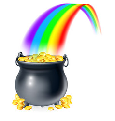 Pot gold at end rainbow vector