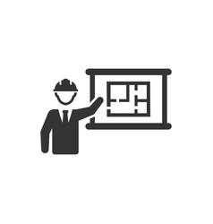 Presenting an architect design plan icon vector